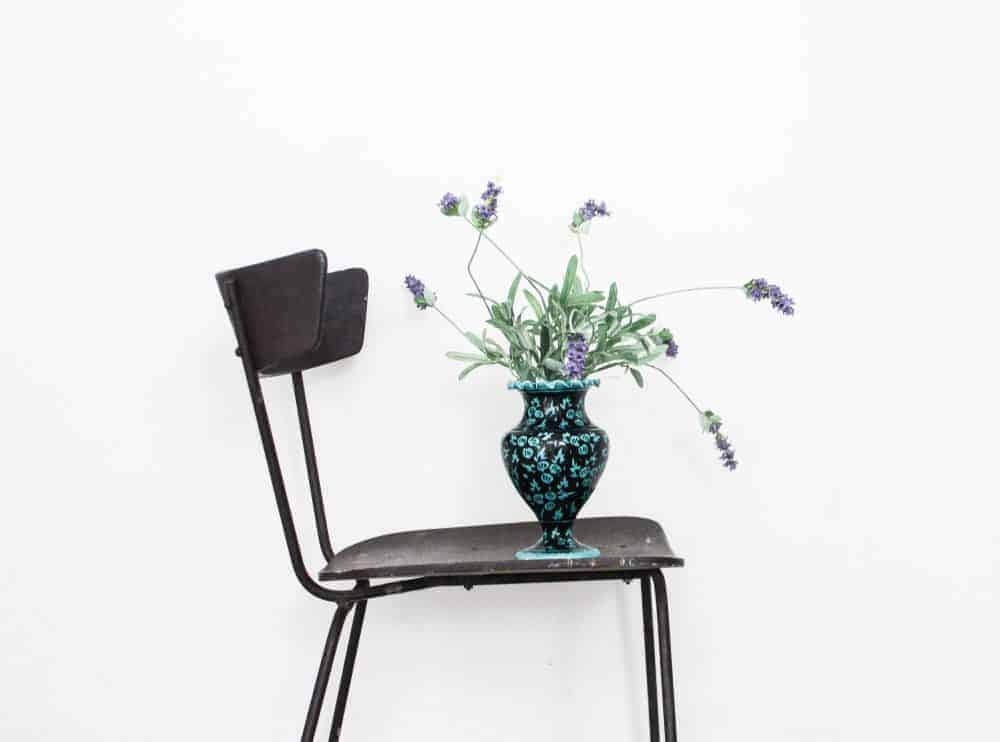 Chair with vase minimalist home