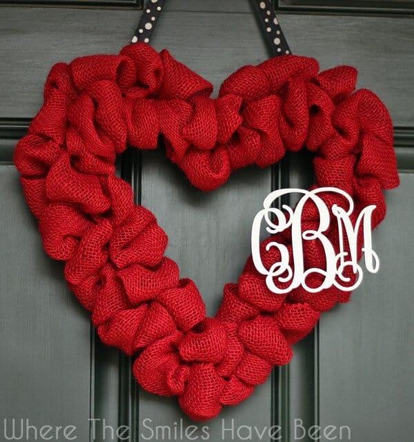 Valentine's Day Burlap wreath with monogram