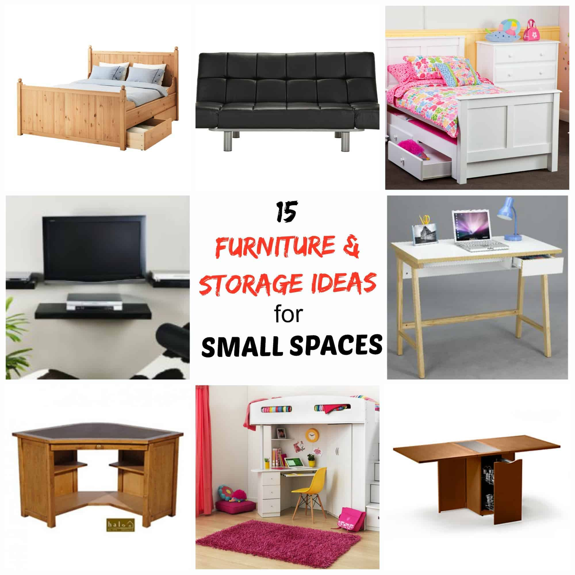 15 furniture storage ideas for small spaces simplify for Storage furniture for small spaces