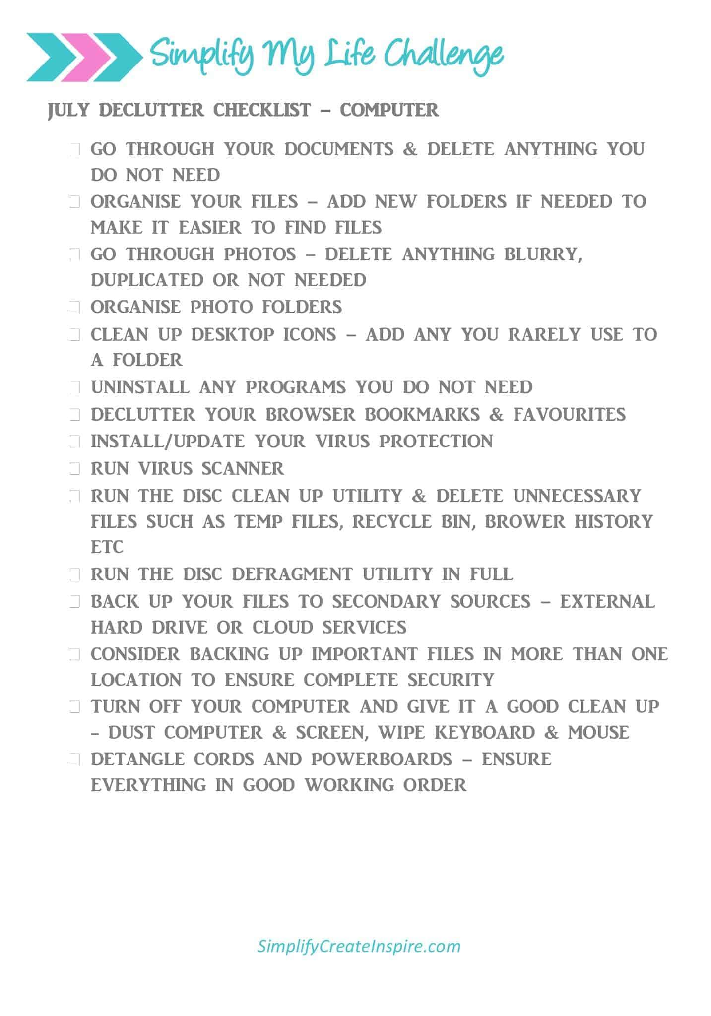 Computer declutter checklist