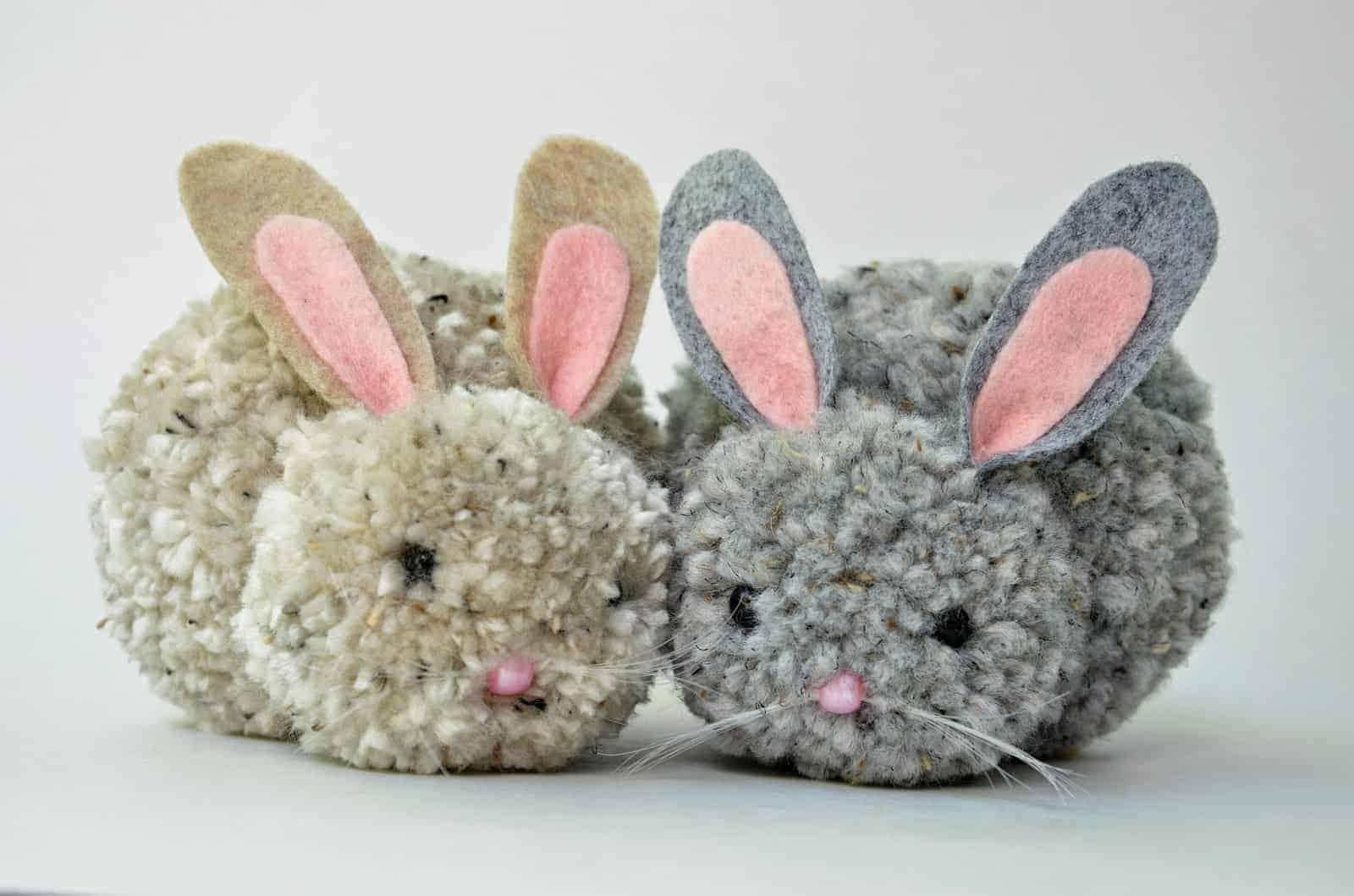 Easter bunny pom pom bunnies