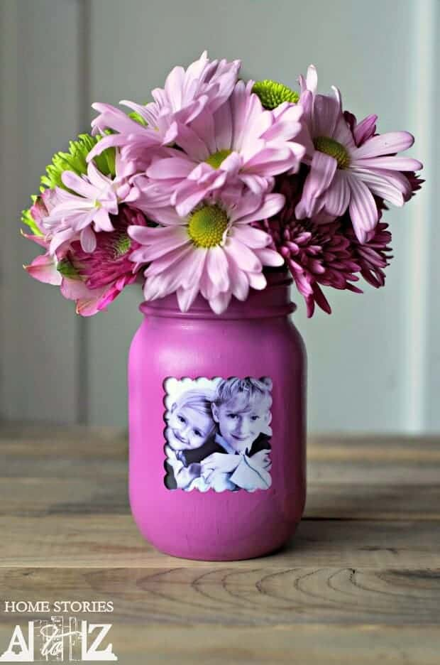 Upcycled mason jar photo frame mothers day