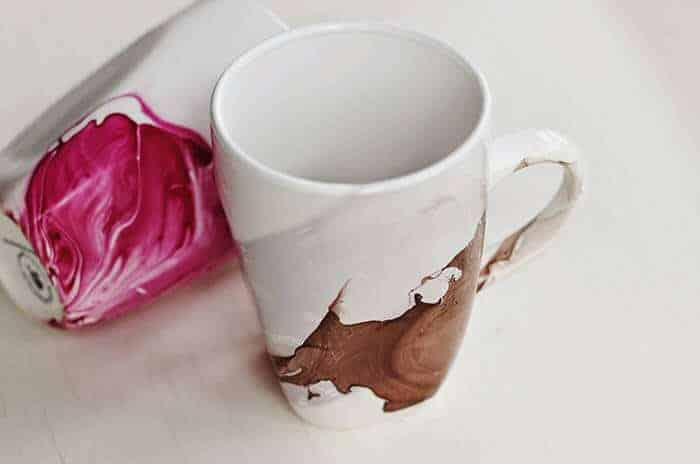 DIY Watercolour painted mugs