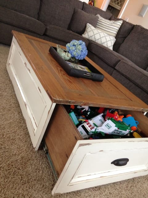 Drawer coffee table hack