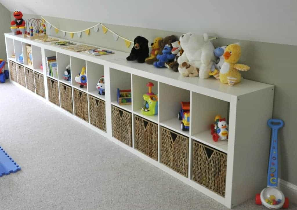 Playroom with Ikea expedit shelves