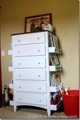 Bookshelf storage hack on dresser