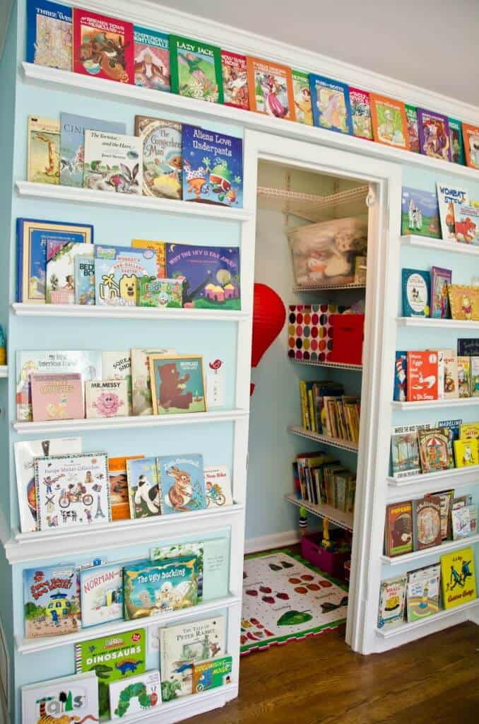 library wall for kids room