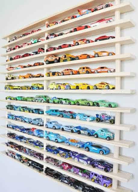 Toy car shelf storage