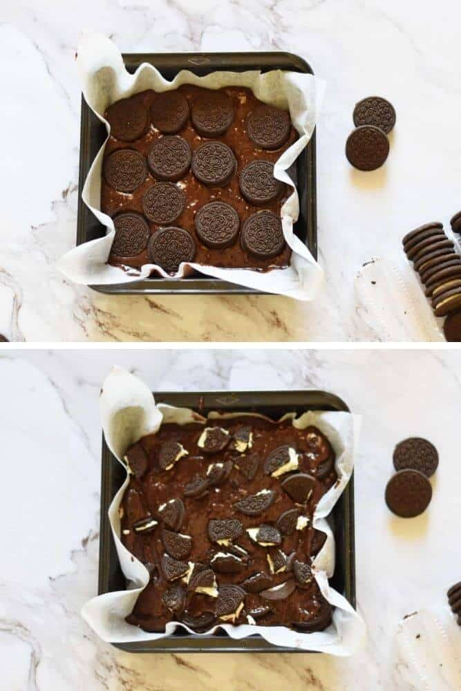 How to make fudgy oreo brownies