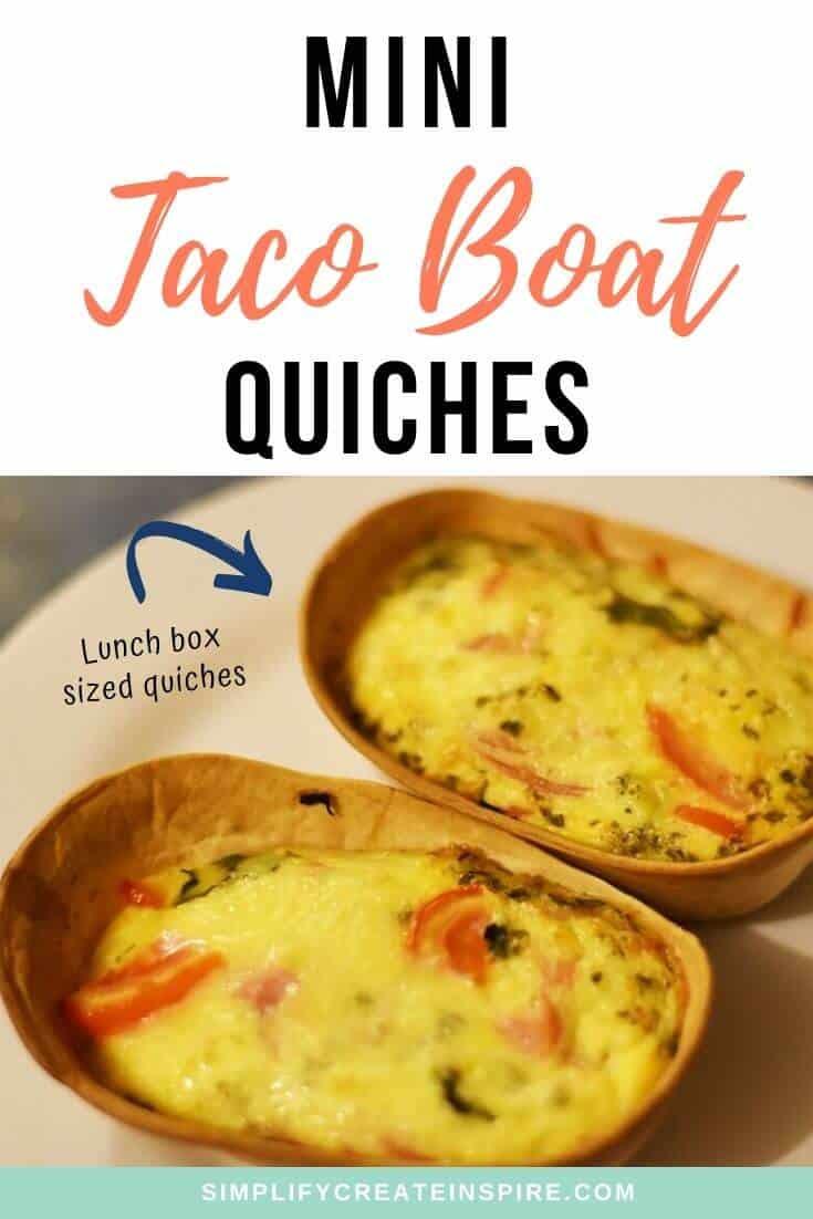 Taco boat quiches lunch box quiche