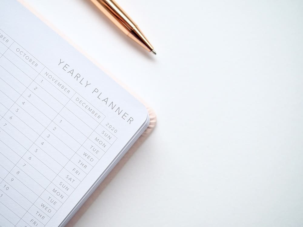 Setting up a planner for the new year