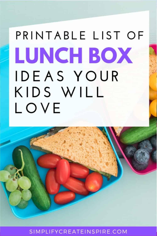 School lunch box ideas printable