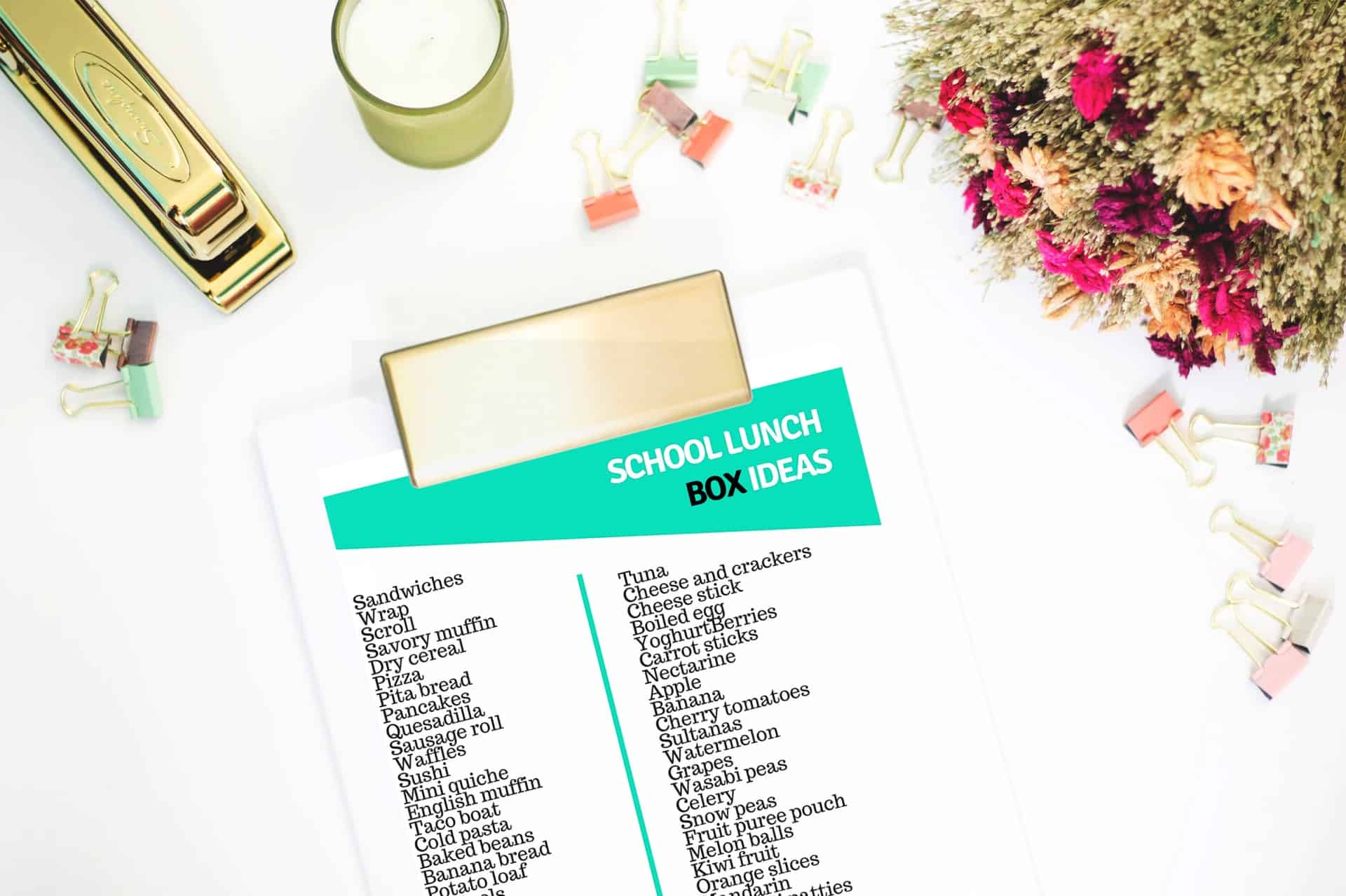 Lunch box ideas printable list