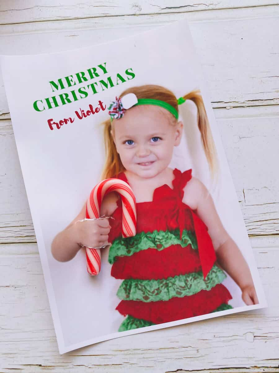 Candy cane christmas cards with photos