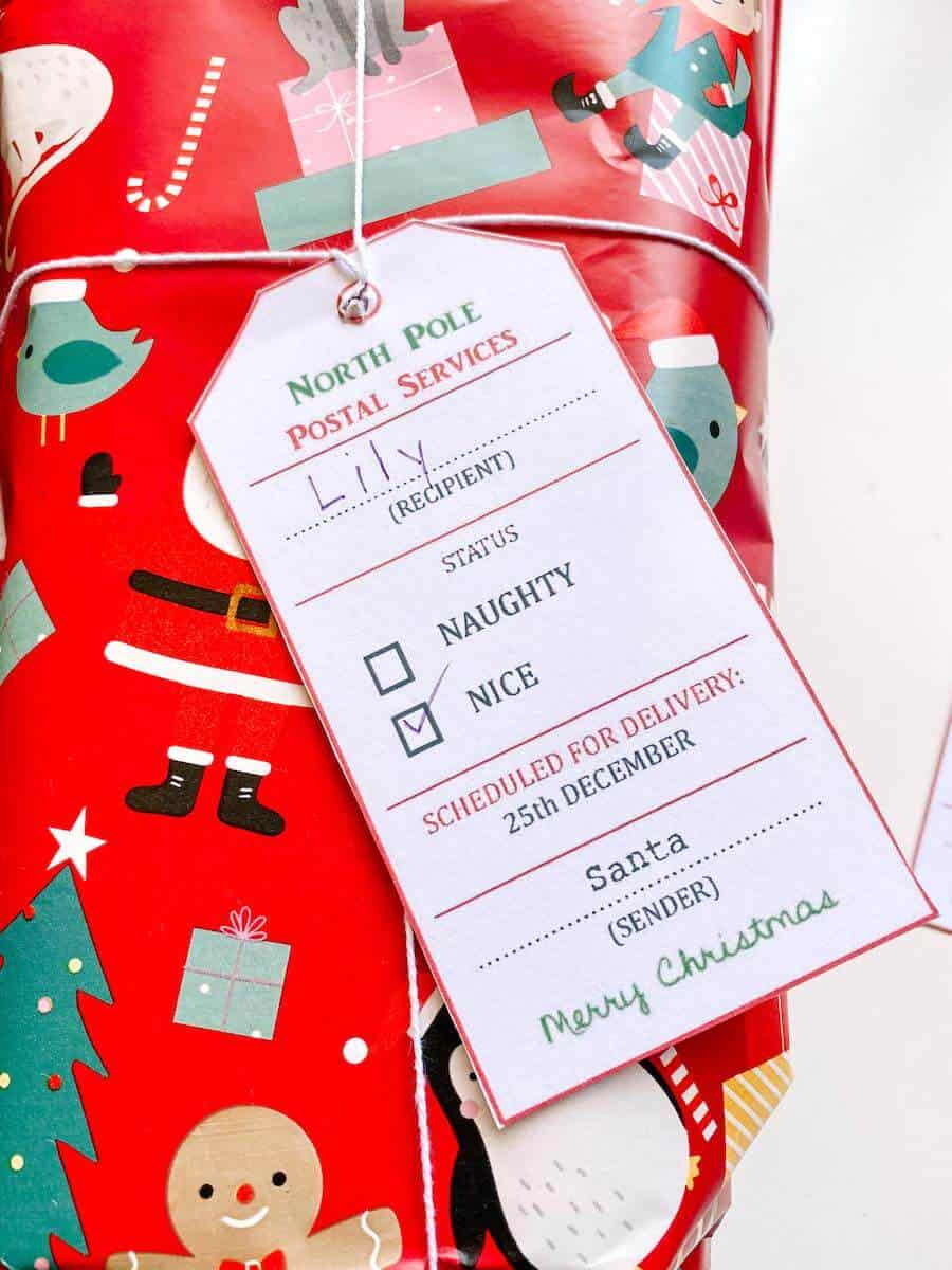 Printable santa tag on gift