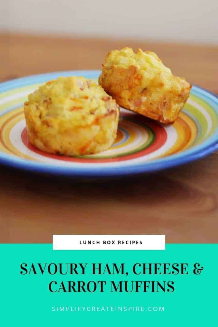 Savoury Ham Carrot & Cheese Muffins Recipe perfect for lunch boxes
