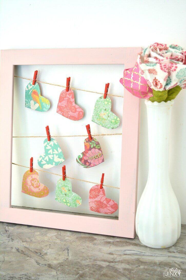 Hanging heart frame decor