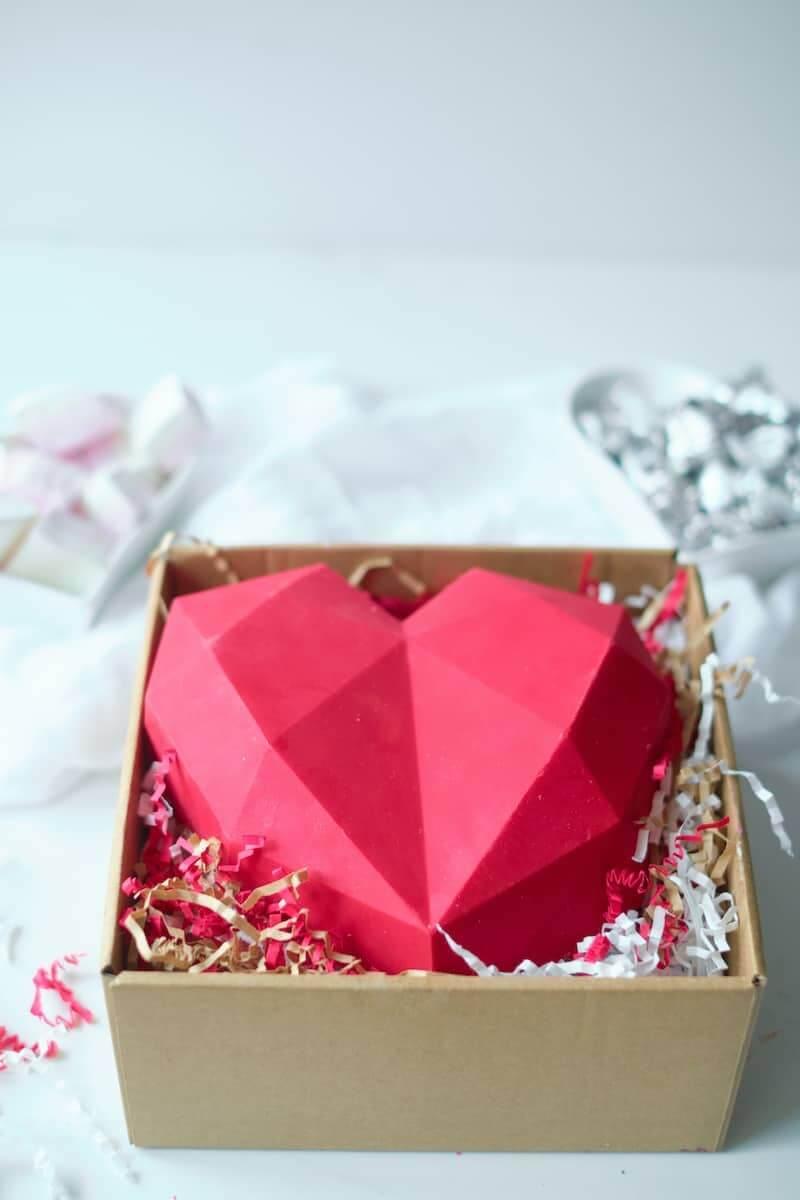 Edible chocolate heart box