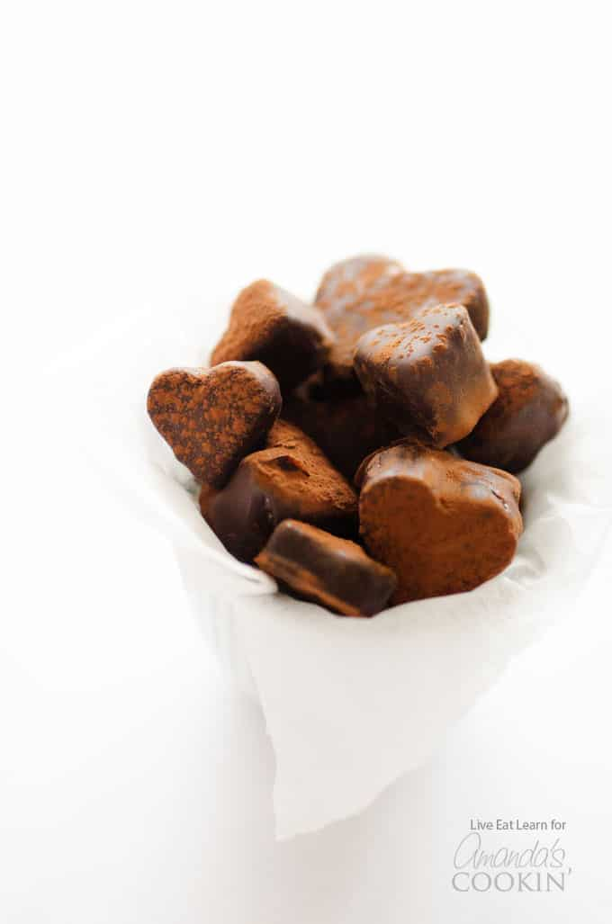 Heart shaped fruit truffles