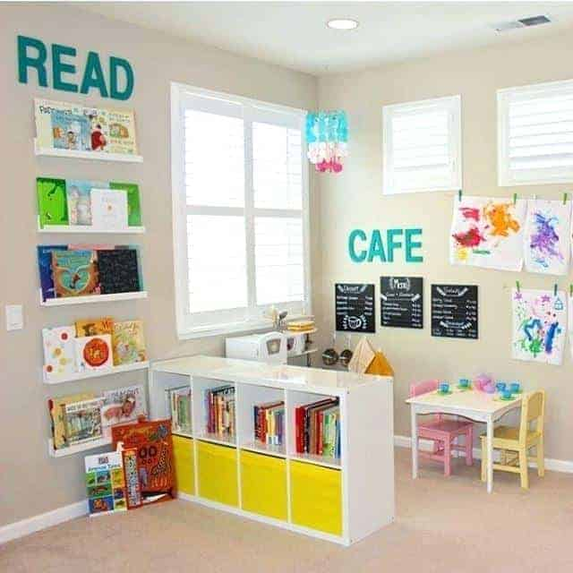 Kids toy room playroom room divider idea childrens room toy storage ideas