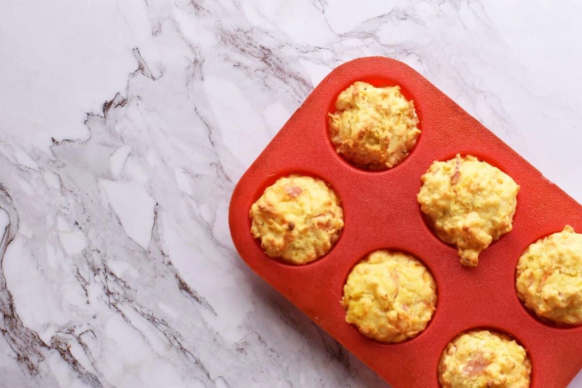 Savoury carrot cheese ham muffins