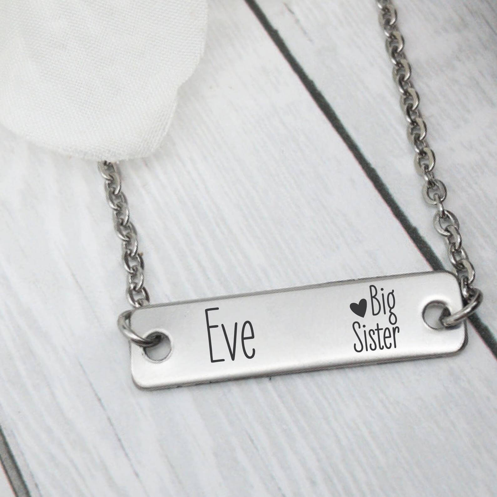 Personalised big sister necklace