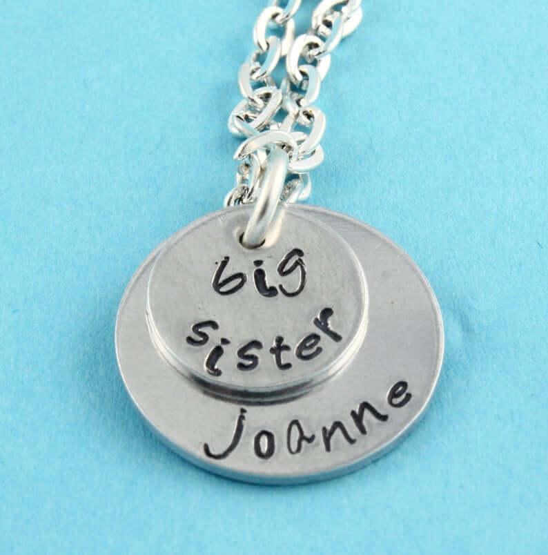 Big sister necklace stamped