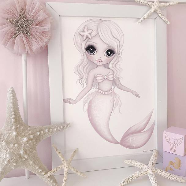 mermaid wall print ocean themed bedroom