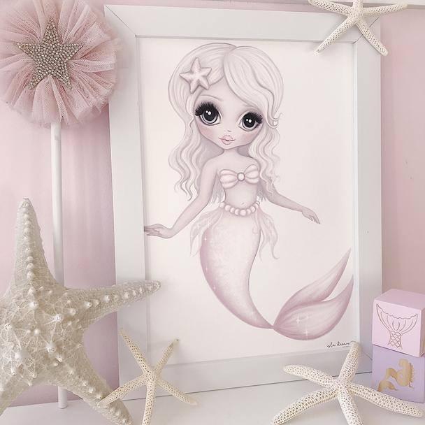 Mermaid wall print ocean themed bedroom