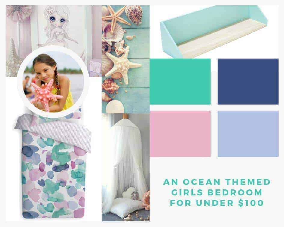 Ocean themed bedroom makeover for under $100