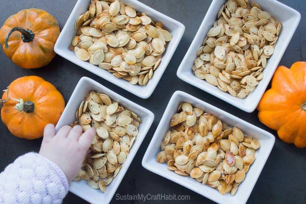 Roasted pumpkin seeds - healthy after school snacks for kids