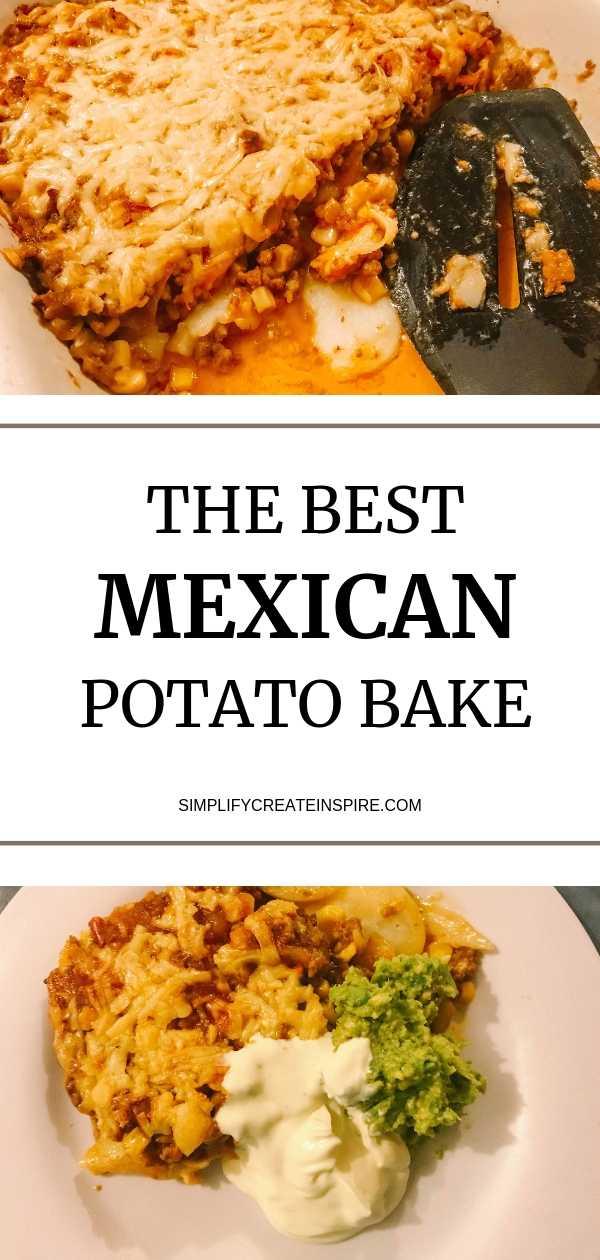 The best cheesy mexican taco potato bake