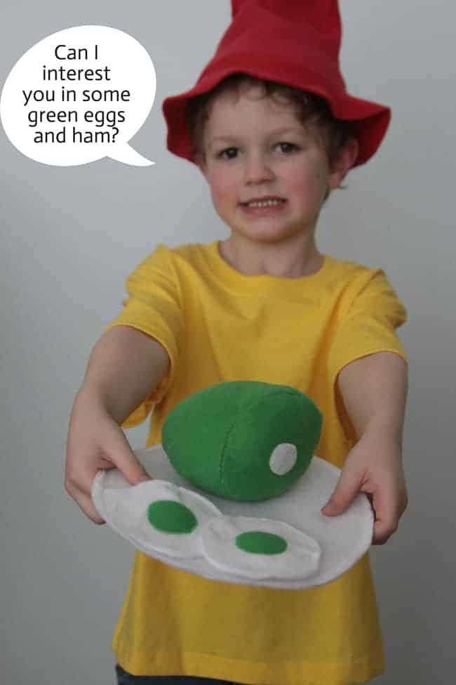 Book Week costume idea - green eggs and ham Sam I AM