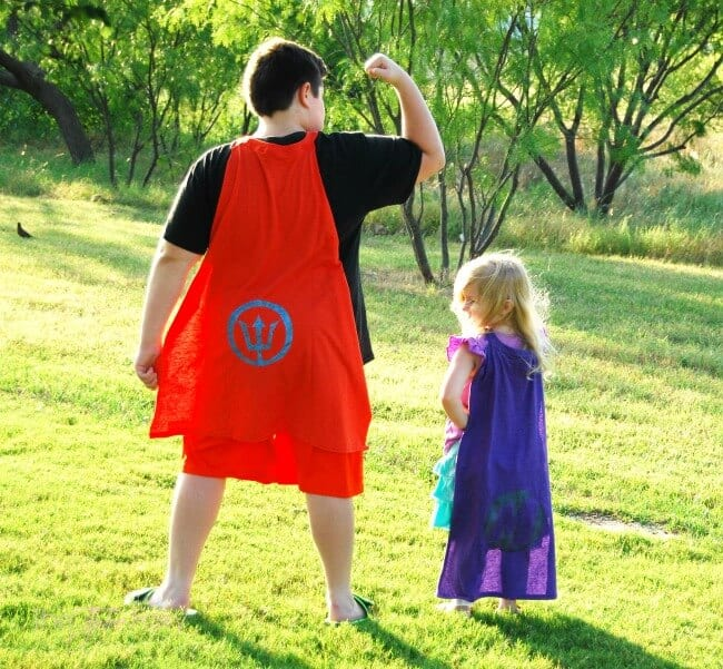DIY superhero capes from t-shirts