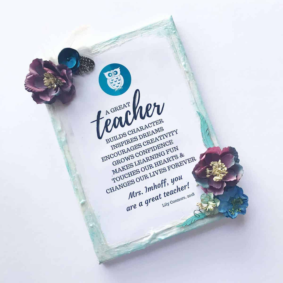 Diy teacher gift canvas