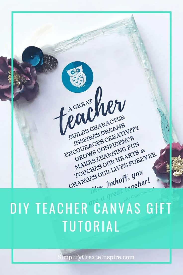 DIY teacher gift quote canvas