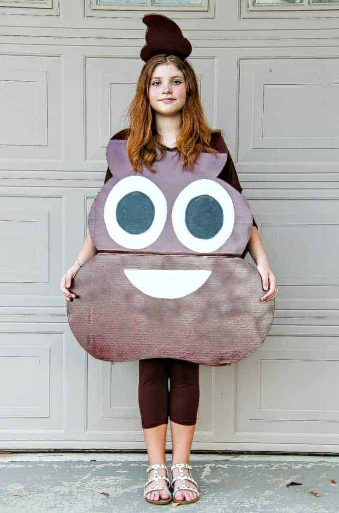 A diy poop emoji costume for kids