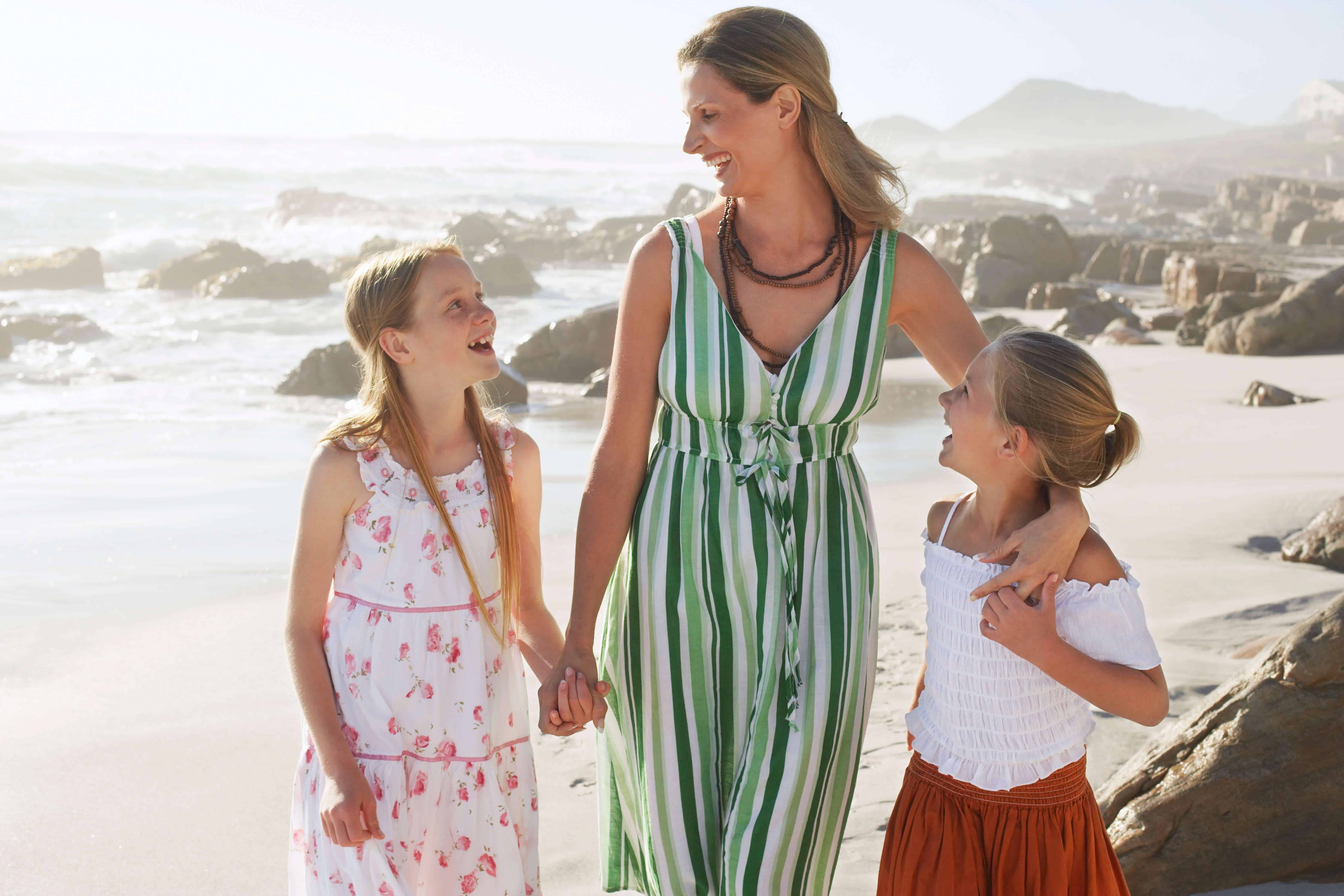 Two girls on holiday with their mother at beach