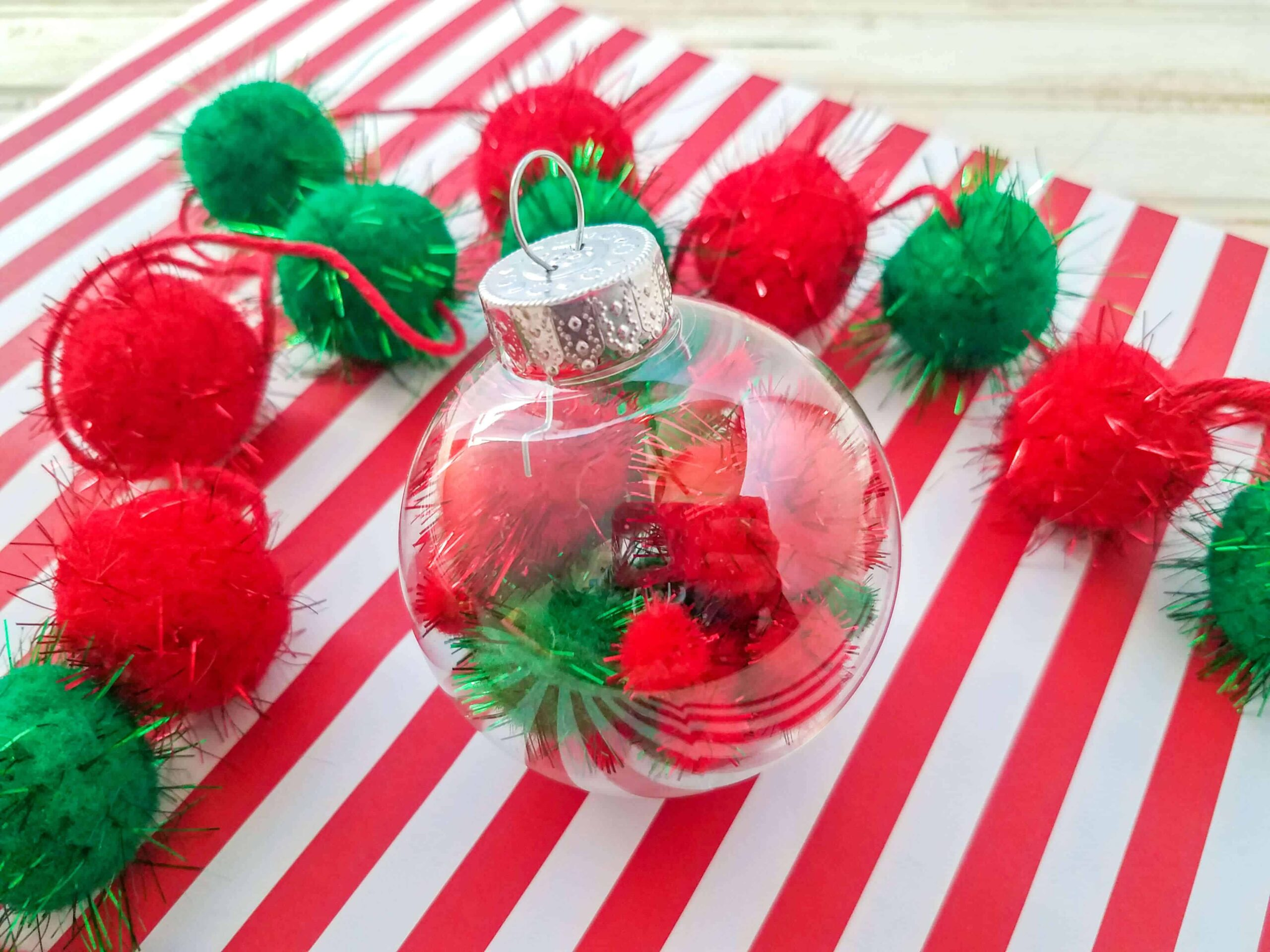 Diy pom pom christmas bauble ornament