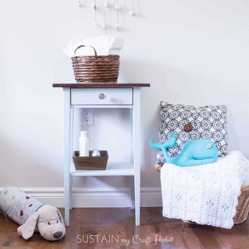 DIY Nightstand Makeover for a Natural Baby Nursery