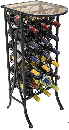 Metal Wine Rack With Glass Table Top