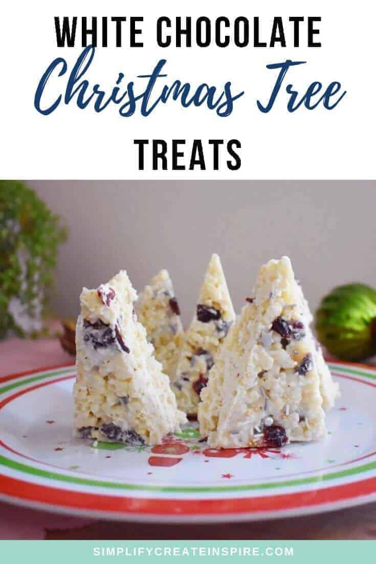 white chocolate and cranberry Christmas tree Rice Krispie treats