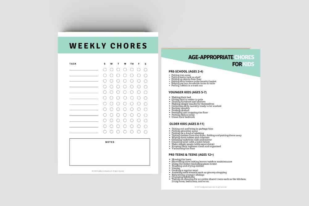 Free printable chore chart and printable chores list by age