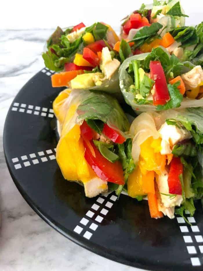 Fresh mango spring rolls