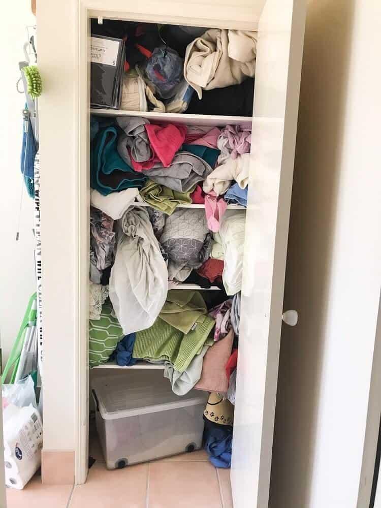 Messy laundry closet