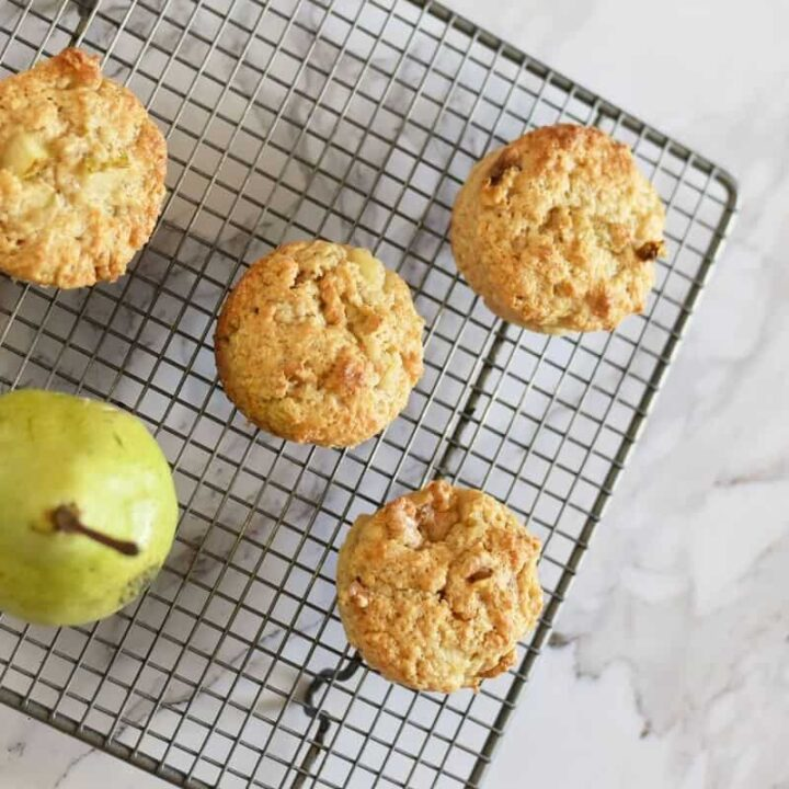 Simple walnut and pear muffins
