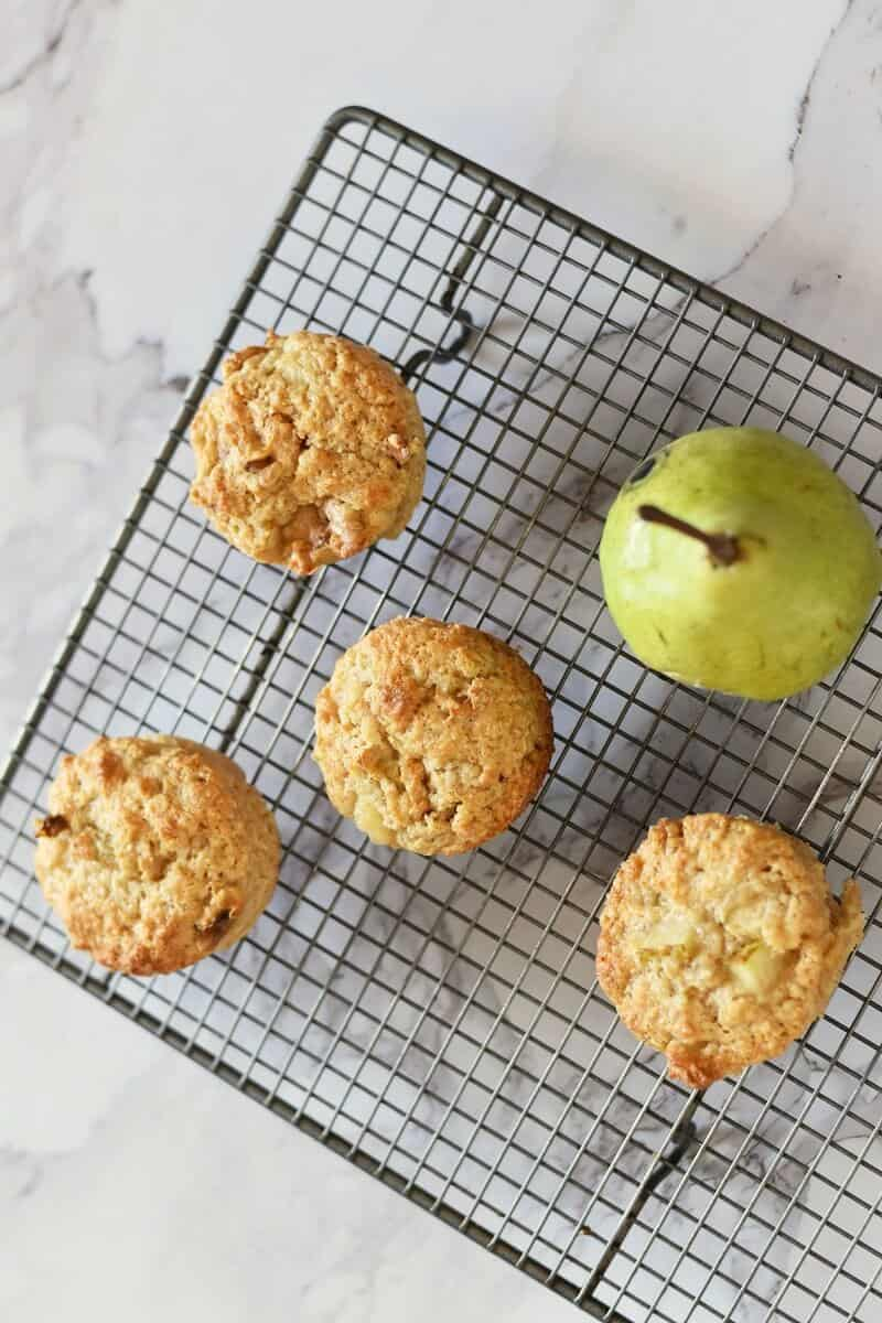 Walnut and pear muffins