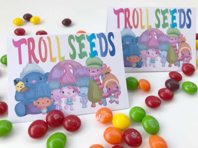Troll seeds party favour bag tags