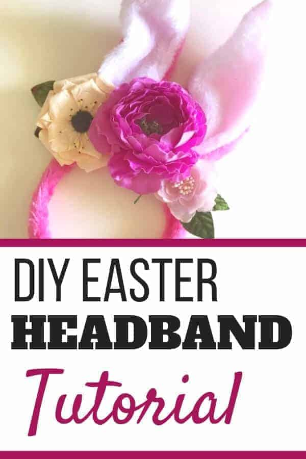 Create your own DIY floral Easter headband in under 15 minutes with this easy Easter bunny headband tutorial. This is a simple alternative to an Easter hat for the Easter bonnet parade or a cute craft project to do with kids #eastercraft #easterheandband #easterparade