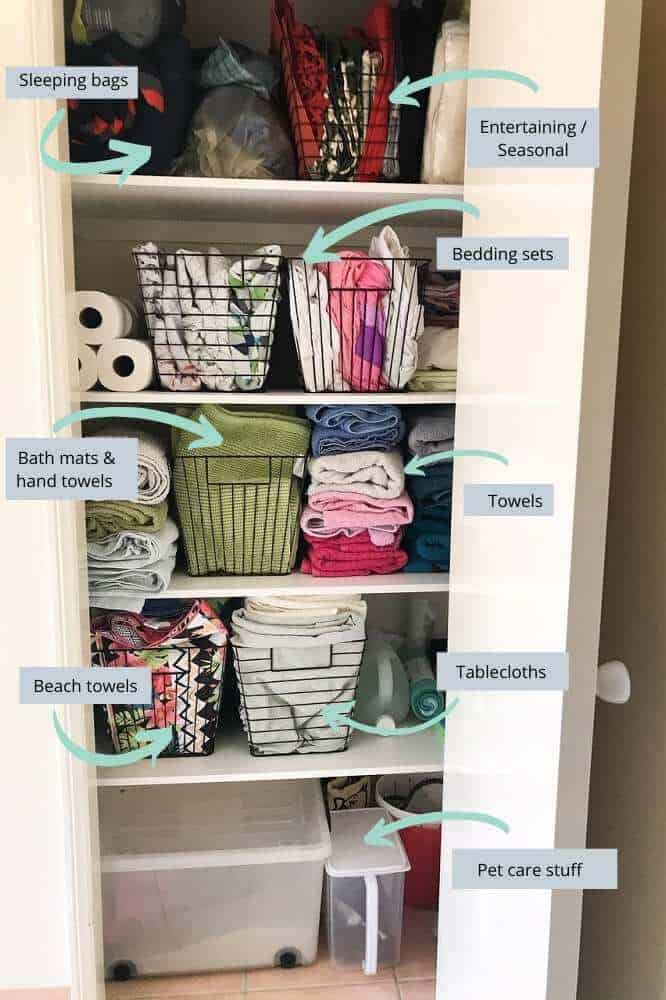 Linen cupboard makeover with kmart baskets